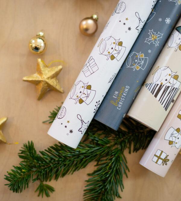 Weihnachtliches Christkind-Geschenkpapier 4 Sorten