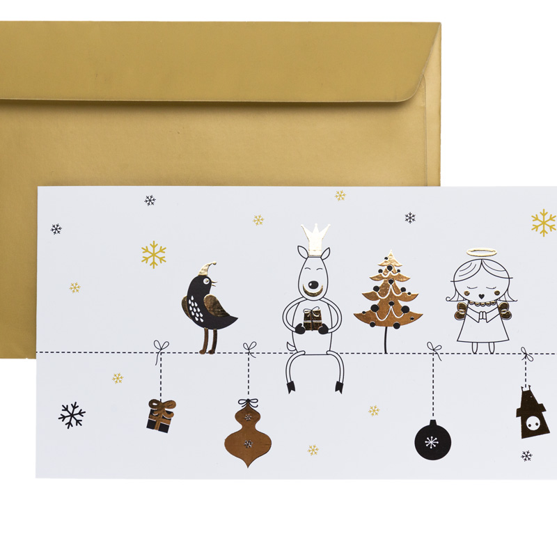 Goldiges Billett mit Weihnachtsmotiv und Kuvert