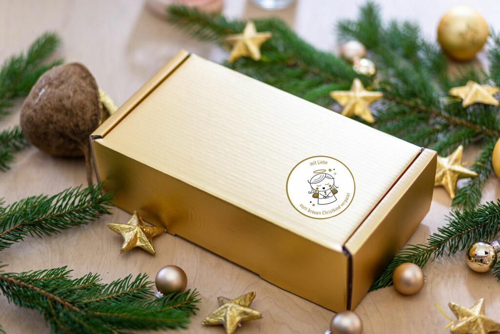 Geschenkkarton in Gold BravesChristkind Produkt Schachtel Gold bea